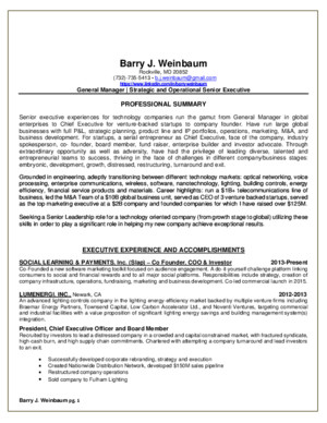 General Manager VP Operations In Washington DC Metro Resume Barry Weinbaum
