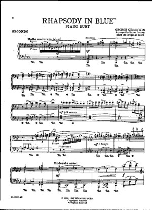 Gershwin, George - Rhapsody in Blue - 1 Piano 4 Hands - Complete Score