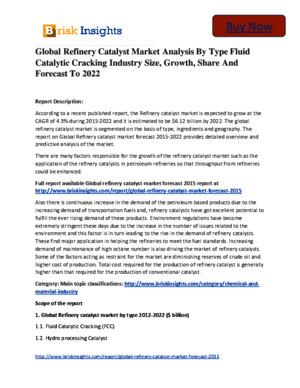 Global Refinery Catalyst Market to 2022 Size,Share,Growth, Trends and Forecast,By Brisk Insights