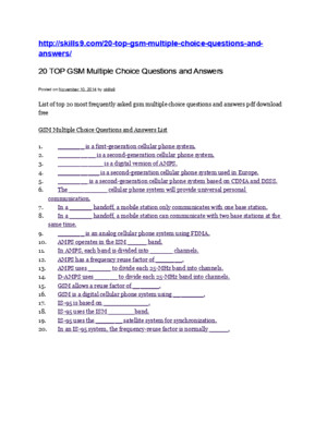 GSM Multiple Choice Questions and Answers List