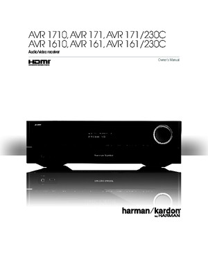 Harman Kardon AVR 171 Owners Manual