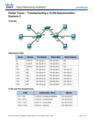 3248 Packet Tracer - Troubleshooting a VLAN Implementation - Scenario 2 Instructions