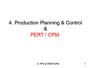 33157580 4 Operations Management PERT CPM