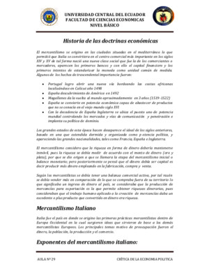 Historia primeras doctrinas económicas
