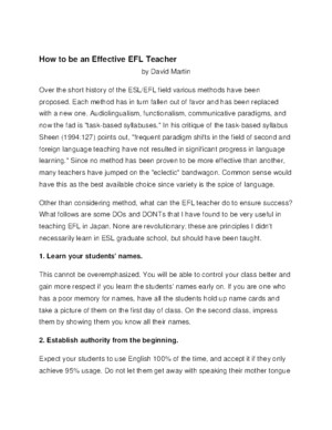 How to Be an Effective EFL Writing Teacher