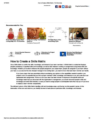 How to Create a Skills Matrix - For Dummies