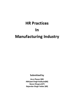 HR Practices in Manufacturing Industry