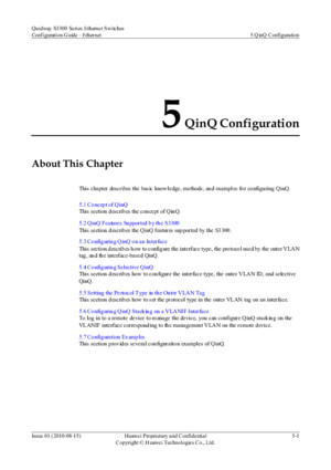 Huawei Quidway S3300 - Configuration Guide - Ch 5 QinQ Configuration