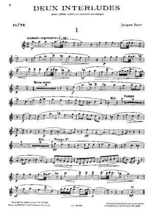 Ibert Deux Interludes for Flute, Violin, And Piano