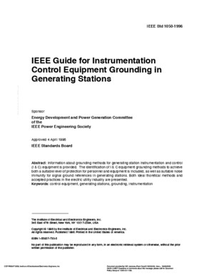 IEEE Std 1050 1996 Guide for Instrumentation Control Equipment Grounding in Generating Stations