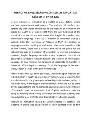 Impact of English and Urdu Medium Education System in Pakistan