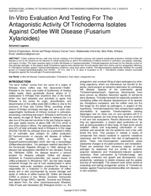 In Vitro Evaluation and Testing for the Antagonistic Activity of Trichoderma Isolates Against Coffee Wilt Disease Fusarium Xylarioides