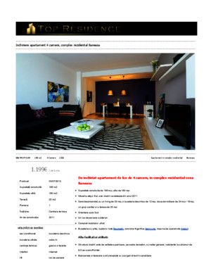 Inchiriere apartament 4 camere, complex rezidential baneasa » top residence – agentie imobiliara bucuresti