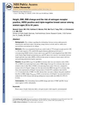 4 Height, BMI, BMI Change and Risk of ER Positive, HER2 Positive and TNBC Among Women Ages 20-44 Years