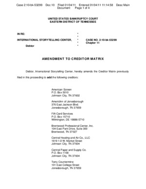 International Storytelling Center - Chapter 11 Bankruptcy Filings - Amended Creditor Matrix
