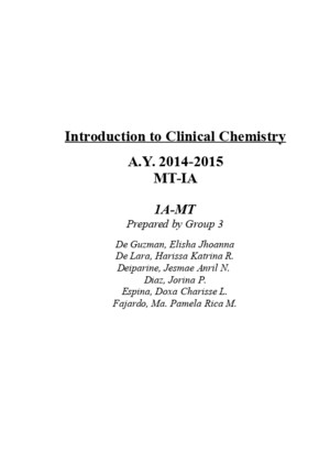 Intro to Medtech Clinical Chemistry Reviewer