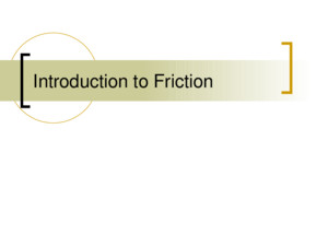 Introduction to Friction Friction Friction is the force that opposes a sliding motion Friction is due to microscopic irregularities in even the smoothest