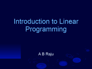 Introduction to linear programming pdf