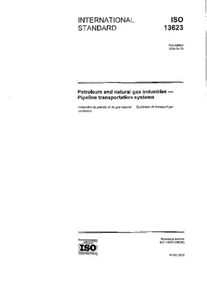 ISO 13623, Petroleum and Gas Industries, Pipeline Transportation Systems