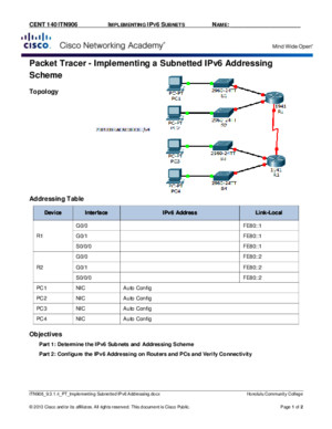 ITN906 9314 PT Implementing Subnetted IPv6 Addressing