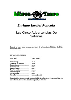 Jardiel Poncela, Enrique - Las Cinco Advertencias de Satanas