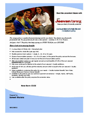 Jeevan Tarang - Plan Presentation-new Born Child