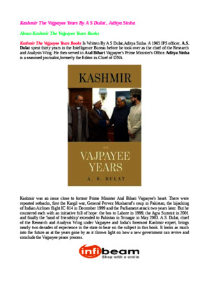 Kashmir the Vajpayee Years by a s Dulat Aditya Sinhapdf