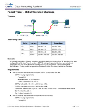 5312 Packet Tracer - Skills Integration Challenge Instructions