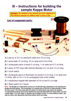 Keppe Motor instructions