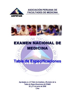 La Tabla de Especificaciones