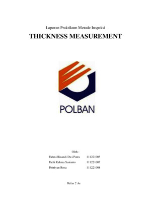 Laporan Thickness Measurement Ultrasonic
