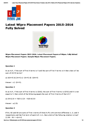Latest Wipro Placement Papers 2015-2016 Fully Solved _ Freshers Jobs 2015, Walkins 2015, Placement Papers 2015, Interview Questions