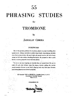 55 Phrasing Studies for Trombone by Jaroslav Cimera