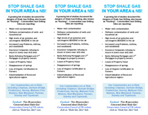Leaflet - Shale Gas Leaflet for Fredericton Area & Surrounding Communites (2pp, August 12, 2011)