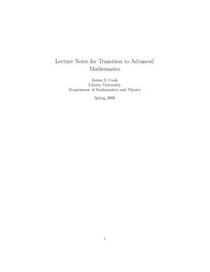 Lecture Notes for Transition to Advanced Mathematics