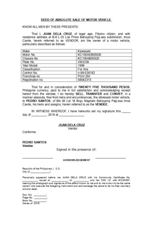 Legforms Deed of Absolute Sale Motor Vehicle