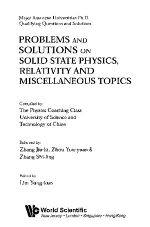 Lim Y Problems and Solutions on Solid State Physics, Relativity and Miscellaneous Topics (WS, 2003)