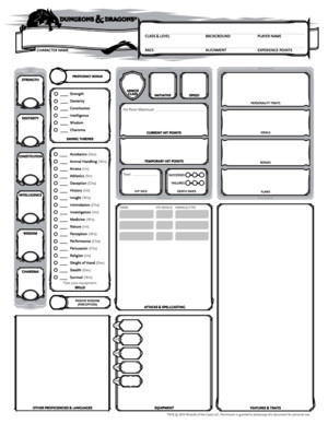 5e Character Sheet (Hi Res, Fillable)