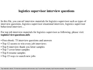 Logistics engineer interview questions