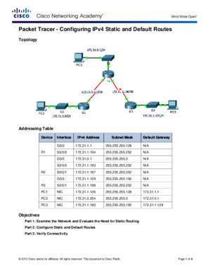 6224 Packet Tracer - Configuring IPv4 Static and Default Routes Instructions - AJHSaccuan