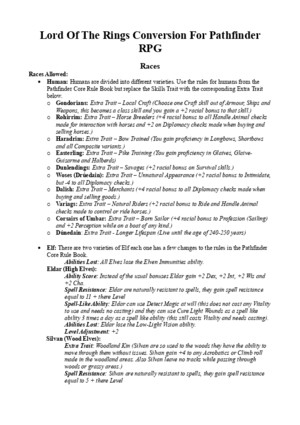 Lord Of The Rings - Pathfinder RPG Conversion