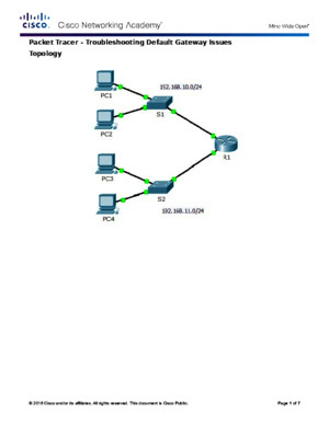 6434 Packet Tracer - Troubleshooting Default Gateway Issues