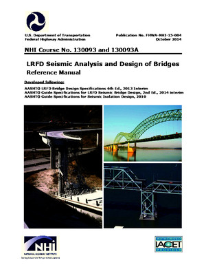 LRFD Seismic Analysis and Design of Bridges Reference Manual