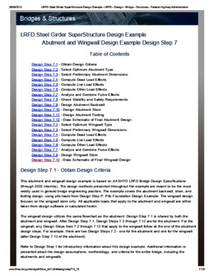 LRFD Steel Girder Superstructure Design Example-Abutment and Wingwall