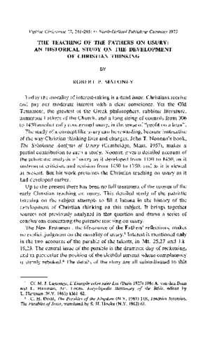 Maloney - The Teachings of the Fathers on Usury