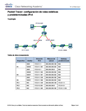 6224 Packet Tracer - Configuring IPv4 Static and Default Routes Instructions