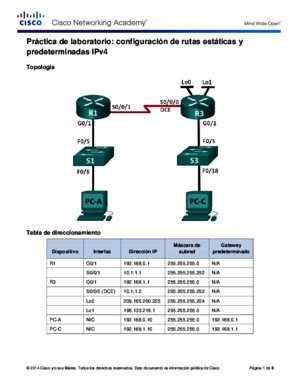 6225 Lab - Configuring IPv4 Static and Default Routes