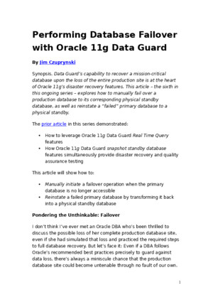 62812317 Performing Database Failover With Oracle 11g Data Guard