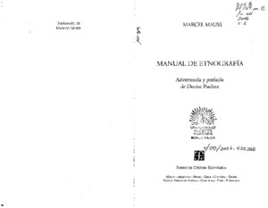 Marcel Mauss - Manual de Etnografia