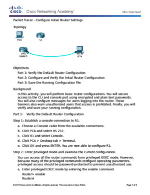 6412 Packet Tracer - Configure Initial Router Settings